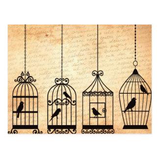 Siluetas del Birdcage Tarjetas Postales