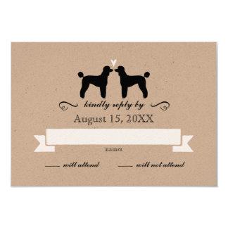 """Siluetas del caniche estándar que casan la invitación 3.5"""" x 5"""""""