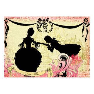 Siluetas del cuento de hadas y pares románticos de tarjetas de visita