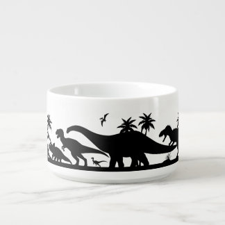 Siluetas del dinosaurio tazón