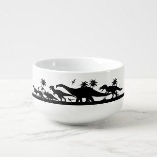 Siluetas del dinosaurio tazón para sopa