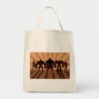 Siluetas del equipo del super héroe bolsa tela para la compra