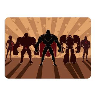 Siluetas del equipo del super héroe invitación 12,7 x 17,8 cm