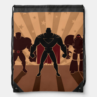Siluetas del equipo del super héroe mochila