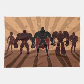Siluetas del equipo del super héroe toalla
