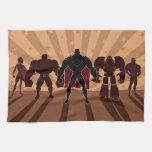 Siluetas del equipo del super héroe toallas