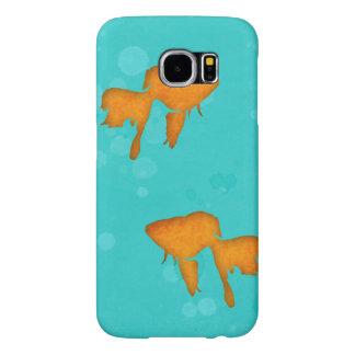 Siluetas del Goldfish en el agua de la turquesa Funda Samsung Galaxy S6