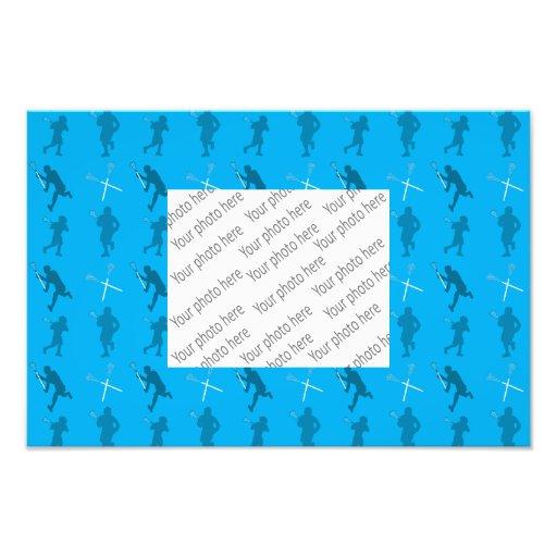 Siluetas del lacrosse del azul de cielo cojinete