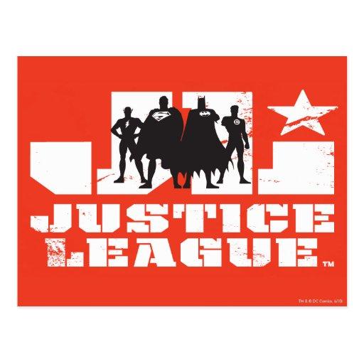 Siluetas del logotipo y del carácter de la liga de postales