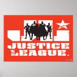 Siluetas del logotipo y del carácter de la liga de póster