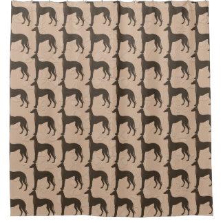 Siluetas del perro del galgo en Brown oscuro Cortina De Baño