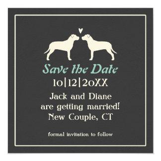 """Siluetas del pitbull que casan reserva la fecha invitación 5.25"""" x 5.25"""""""