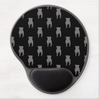 Siluetas grises del barro amasado en fondo negro alfombrilla de ratón con gel