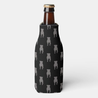 Siluetas grises del barro amasado en fondo negro enfriador de botellas