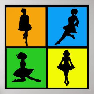 siluetas irlandesas del bailarín del iDance Posters