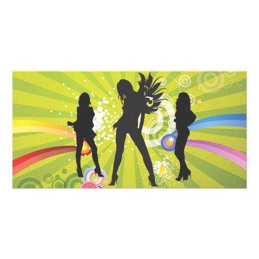 Siluetas libres de los chicas de baile tarjeta fotografica