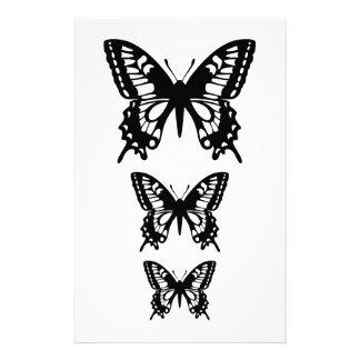 siluetas negras de la mariposa papeleria personalizada