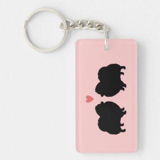 Siluetas negras de Pomeranian con el corazón Llavero Rectangular Acrílico A Una Cara