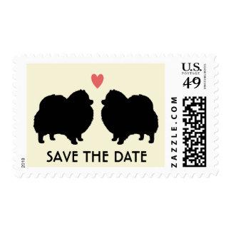 Siluetas negras de Pomeranian que casan reserva la Sello