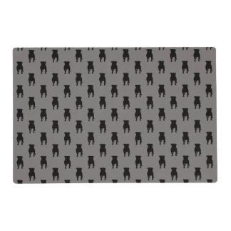 Siluetas negras del barro amasado en fondo gris tapete individual