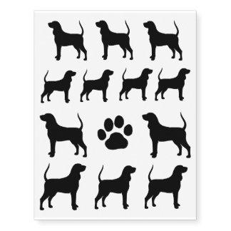 Siluetas negras y del moreno del Coonhound Tatuajes Temporales