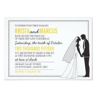 Siluetas simples que casan la invitación