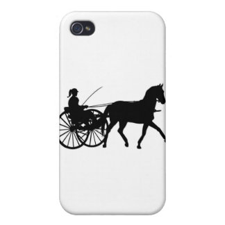 Siluetas - Teamsters - caballos - cochecillo del c iPhone 4 Protectores