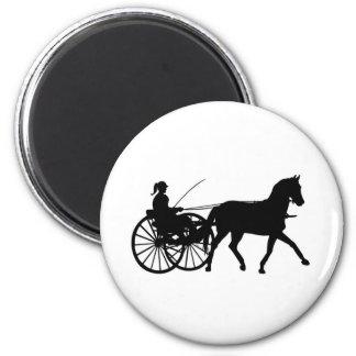Siluetas - Teamsters - caballos - cochecillo del c Imán Redondo 5 Cm
