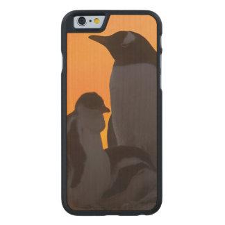 Siluetean a un adulto y un polluelo del pingüino funda de iPhone 6 carved® de arce