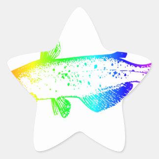 Siluro del arco iris pegatina en forma de estrella