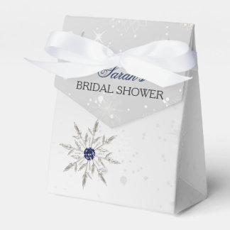 silve snowflakes bridal shower favor box