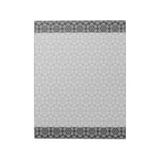 Silve White Geometric Flower Pattern Office Gift Notepad