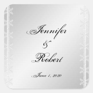 Silve White Snowflake Winter Wedding Envelope Seal Square Sticker