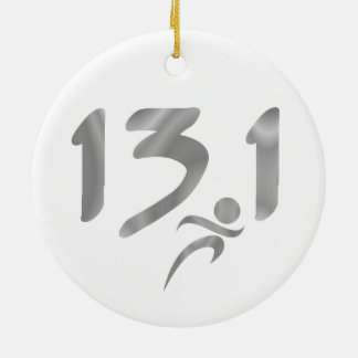 Silver 13.1 half-marathon ceramic ornament