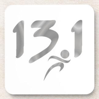 Silver 13.1 half-marathon coaster