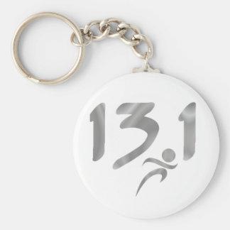 Silver 13.1 half-marathon basic round button keychain