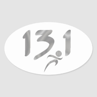 Silver 13.1 half-marathon oval sticker