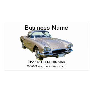 Silver 1962 Chevrolet Corvette Sports car Business Card