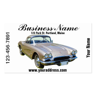 Silver 1962 Chevrolet Corvette Sports car Business Cards