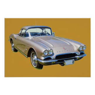 Silver 1962 Chevrolet Corvette Sports car Poster