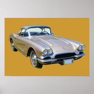 Silver 1962 Chevrolet Corvette Sports car Poster