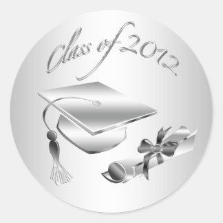 Silver 2012 Graduation Cap & Diploma Seals Classic Round Sticker