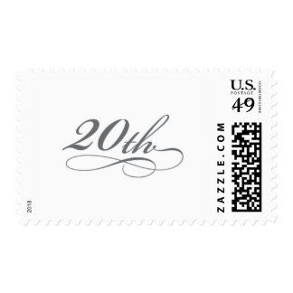 Silver 20th Birthday or Anniversary Stamp