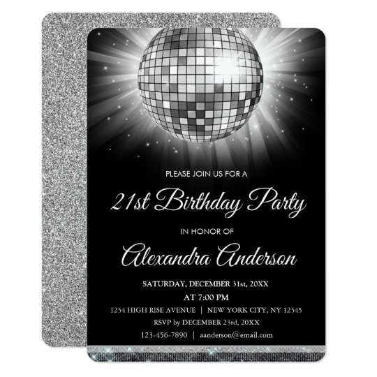 silver 21st birthday party disco ball 70 s party invitation