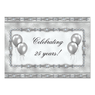 Silver 25th Anniversary Balloon Party Invitation