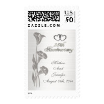 Silver 25th Anniversary calla lilies postage stamp