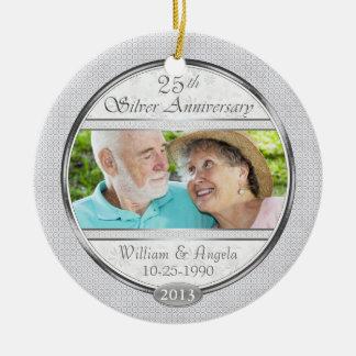 Silver 25th Anniversary Custom Photo Ornament