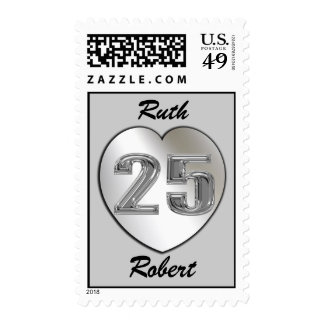 Silver 25th Anniversary Custom Postage Stamps