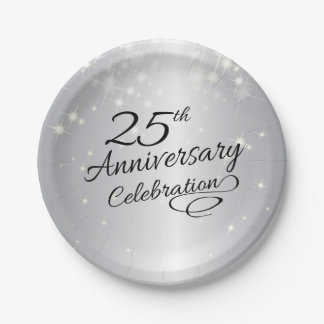Silver 25th Anniversary Party Paper Plate