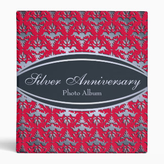 Silver 25th Anniversary Photo Damask Album 3 Ring Binders
